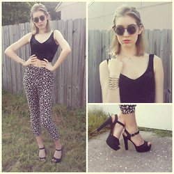 Sonya F - Urban Outfitters Floral Pants, Urban Outfitters Velvet Crop Top, Urban Outfitters Detailed Sunnies - Shorter Hair and Higher Heels
