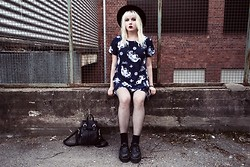 Thelma Malna - H&M Hat, Motel Rocks Dress, Seppälä Tights, Chicnova Backpack, Oasap Creepers - DRAGONS & BLUE