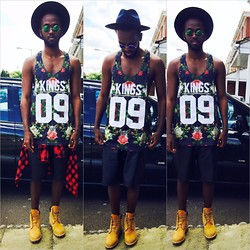 Abdulqadir Abuukar - Zara Checkered Shirt, Supply & Demand Kings Vest, Topman Leather Shorts - Carnival Day