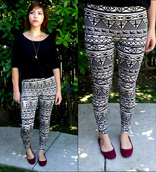 Xochitl - Ross Printed Leggings, Forever 21 Black Shirt, Forever 21 Necklace, Target Purple Flats - Love Is So Short. Forgetting Is So Long.