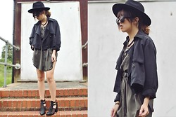 Diane Landers - H&M Hat, Topshop Cross Necklace, H&M Sunglasses, Frontrowshop Two Way Mac, Thrifted Green Army Button Up Dress, Boohoo Multi Strap Heeled Gladiators Shoes - Twenty-One.5.Fourteen