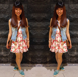 JING Y. - H&M Denim Jacket, Forever 21 Floral Dress, Kate Spade Essex Scout Satchel, Sperry Top Sider Bahama 2 Eye Turquoise Sparkle, Fossil Georgia Leather Watch - Spring in l♥ve