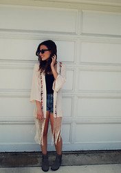 Chloe Parr - Urban Outfitters Kimono, Free People Denim Shorts, Steve Madden Booties - Summer Vibes