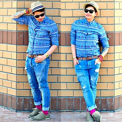 Butch Cervantes - H&M Aztec Shirt, H&M Fedora, Zara Denim Pants - Without striving to be noticed!