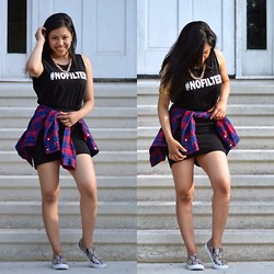 Ashley Juarez - H&M Graphic Muscle T Shirt, H&M Necklace, H&M Plaid Button Down, H&M High Waisted Skirt, H&M Snake Print Slip On Sneakers, H&M Arm Bracelet - #NOFILTER