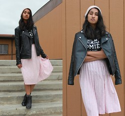 Kripa Mehta - Urban Outfitters Homies Tee, H&M Boots, Forever 21 Leather Moto, H&M Beanie - In the midi