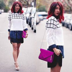 Jessie Khoo - Wish Crossed Jumper, Glassons Chambray Shirt, Bebe Leather Skirt, Spurr Sandals - Winter in the City