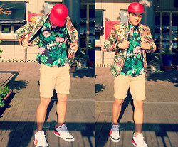 Mickie Cantor - Stampd Lamb Skin Snapback, Zara Floral Blazer, Gap Lived In Floral Shirt, Gap Classic Khaki Shorts, Nike Air Jordan 3 Fire Red - Floral #2