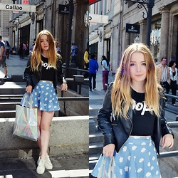 Marina Scofield - Oasap Leather Jacket, Wholesale7 Skirt, Choies Bag, Choies Tee, Dressvenus Creepers - Madrid