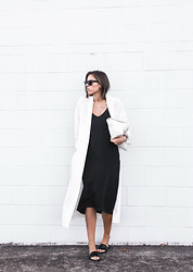 Kaitlyn Ham - Topshop Silk Cami Midi Dress, Zara Oversized White Leather Clutch, Asos Ivory Long Duster Coat, Common Projects Minimal Leather Pool Slide Sandals, Ray Ban Outsiders Oversized Wayfarer Sunglasses - The Domino Effect.