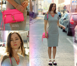 ☽Emī Silberīn Mānelieht☾ - Rebecca Minkoff Mini Mac Clutch   Neon Pink/ Gold Hw, Fossil Ball Shot Bracelet, Bijou Brigitte Gem Drops Necklace, H&M Altered Grey Dress, H&M White Patent Leather Platform Sandals, Benefit Peach Lip Tint   Benetint - ✛ I LOVE THOSE WHO CAN SMILE IN TROUBLE...