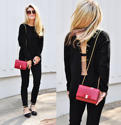 Maegan Tintari - Diy Open Back Sweater With Pins, Salvatore Ferragamo Miss Vara Bow Mini Bag - Date Night