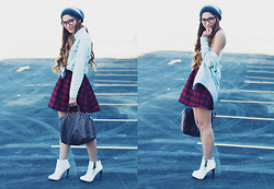 "Camille Sioco - Oasap Denim Shirt, Jollychic Tartan Skirt, Louis Vuitton Speedy 30, Zu Shoes ""Cortez"" Boots, Cotton On Gradient Beanie - Alienated"