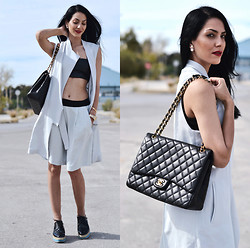 Konstantina Tzagaraki - Leather Crop Top, Twin Set, Chanel Bag - I wish to weep but sorrow is stupid..