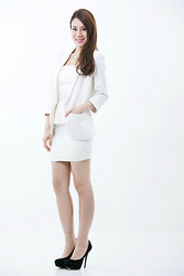 Joey Bellabel - Cay And Bella Online Store White Blazer, Steve Madden Black Suede High Heel - White lies