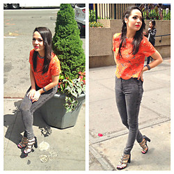 Katie Rose Van Buren - Topshop Crochet Orange Top, American Apparel Stone Wash Skinny, Free People Studded Shoe, Topshop Silver Chain - Heart Without Chains