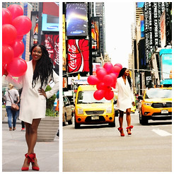 Monroe Steele - Haute Hippie Dress, Bow Pumps Aminah Abdul Jillil Shoes - A Times Square Birthday