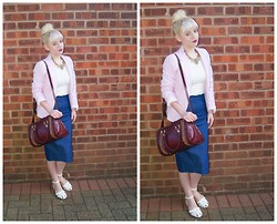 Ava Clarice Hornby - Boohoo Lace Blouse, Boohoo Denim Pencil Skirt, New Look Bag, New Look Necklace, Primark Shoes - Burgundy Rose