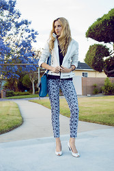 Linda Lind - Hart Denim Pants, Paolo Santini Leather Jacket, Forever 21 Top, Melie Bianco Bag, Zara Pumps - Jacaranda