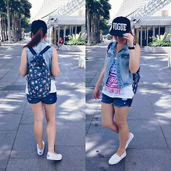 JING Y. - Hurs Vogue Cap, H&M Denim Jacket, American Eagle Outfitters Tank Top, Toms Leopard Prints Classic, N/A Cath Kidston Inspired Bagpack - Tourist in my own country