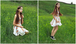 L F - Minkpink Four Seasons Panelled Dress, Converse Baseball Shoes, Asos Double Gold Chain - English Countryside| やっと夏が来ました~