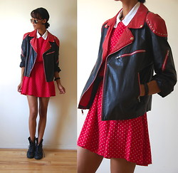 Luna Nova - Vintage Leather Jacket, Thrifted Polka Dot Dress, Vintage Leather Boots - I Bet You Look Good On The Dancefloor