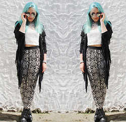 Alex MacEachern - Zerouv Mirror Aviator Sunglasses, Goldie London White Crop Top, Goldie London Black Fringe Jacket, New Look Black And White Print Trousers, Ebay White Watch, Shoe Zone Black Heeled Boots - A Lone Wolf Never Wins Gold