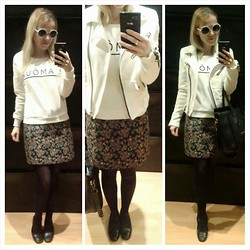 Gabriella B - H&M White Slogan Sweatshirt, New Yorker White Structured Jersey Biker, Primark White Round Sunglasses, New Look Baroque Floral Tapestry A Line Skirt, Vintage Black Leather Loafers - Can I kick it