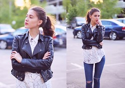 Irina T. - Topshop Leather Jacket, Topshop Shirt, Miamasvin Jeans - Summertime sadness
