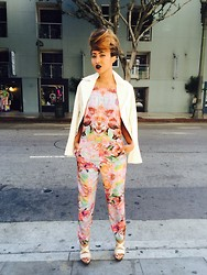 Kiani Iman - Finders Keepers The Label Strange Fire Jumpsuit, True Religion Leather Jacket, Michael Kors Gold Pumps - 6.3.14