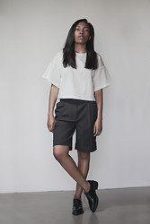 Theresa O. - 3.1 Phillip Lim Top, 3.1 Phillip Lim Shorts, Acne Studios Shoes - Black & White