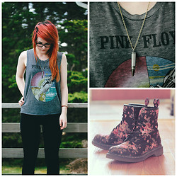 Kayla Bee - Chaser Pink Floyd Muscle Tank, Mavi Alissa High Rise Skinny Jeans, Bullet Necklace, Dr. Martens (Not Shown In Original) Floral Boots - Vintage Summer