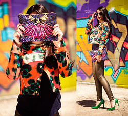 Sara Koonar - Mawi Purse, Nine West Green Pumps, Kenzo Printed Moto Jacket, Bb Dakota Gold Jeans - Be Bold in Sparkles and Prints