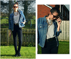 Victoria P - H&M High Waisted Jeans, Primark Striped Tee, H&M Gold Accessories, My Mum's From The 80's Denim Jacket, Ray Ban Tortoiseshell Wayfarers, Primark Boots - Basics.