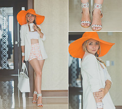 Olga Choi - Anna Xi Sandals, Chic Wish Blazer, Chic Wish Shorts, San Diego Hat, Kate Spade Bag - White is for summer