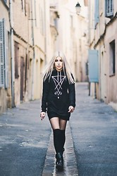Anne-Cécile Van Doren - Fuscare Morning Star Hoodie Dress, H&M Biker Boots - Down the street