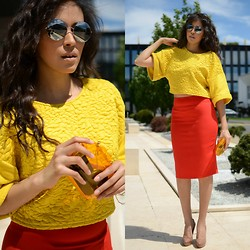 Patricia Do Nascimento - Moschino Pencil Skirt, H&M Crop Top, Miu Pumps - HIGH WAISTED PENCIL SKIRT AND CROP TOP