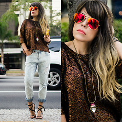 Priscila Diniz - Metallic Sweater, Boyfriend Jeans, Mirroed Sunglasses, Yellow Clutch, Necklace, Sandals > Similar, Rafa Borges Photographer - Shine on