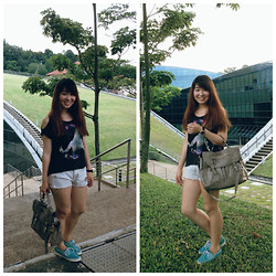 JING Y. - H&M Unicorn X Peace, Zara Tribal Denim High Waisted Shorts, Accessorize 2 Way Satchel - Urban greenery