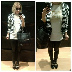 Gabriella B - New Look Monochrome Striped Blazer, Reason White Gold Homies Tee, Mango Black Skinny Biker Jeans, New Look Patent Chain Loafers - Go back to the shadow??