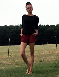Shar E - Old Navy Black Top, Red Corduroy, Tan Sandals - Keep it Simple, Stupid