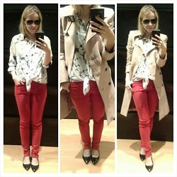 Gabriella B - Oasap Marble Print Shirt, Zara Trench Coat, Pull & Bear Red Skinny Trousers, New Look Patent Flats - Red Strikes Back