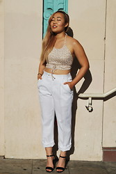 Nicole Kim - Nicole Kim Original Crop Top, Vintage White Pants, Love Culture Black Strappy Heels - Feline