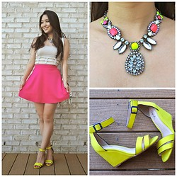 Kimberly Kong - Deb Top, Accessory Mercado Necklace, Calico Wedges, Charlotte Russe Skirt - Remix:  The Cutout Crop Top