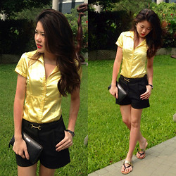 Wytane Au - Zara Yellow Silk Blouse, H&M Black Shorts, Forever 21 Leather Flipflops, Valentino Wallet, Furla Watch - Gold N' Black Sunday