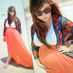 Faith Rodriguez - Forever 21 Aztec Print Kimono, Splas Orange Chiffon Maxi Skirt, Just Cavalli Snakeskin Detail Sunglasses - Baby, It's Hot Outside! (Baby Mama Lookbook)