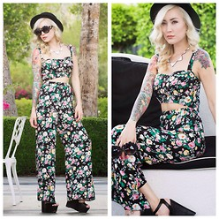 Brittany Bao - La Hearts Cut Out Floral Jumpsuit, Nasty Gal Dusty Rose Sunglasses, Nasty Gal Boater Hat, Nasty Gal Wedges, Etsy Triangle Necklace - Comin Up Roses