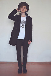 Denis Fleim - Boy London Tee, Zara Coat, Asos Trousers, Zara Shoes, Second Hand Hat - EMPTY WALLS