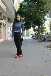 Sahar Lazari - Zara Crop Top, Zara Pinstripes Pants, Topshop Quilted Bag, Crown Velvet Flats - I swear it was chilly