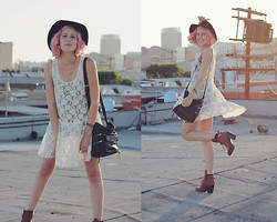 Dani Roxanne - Free People Lace Dress, Rebecca Minkoff Bucket Bag, Grey City Red Booties - Go towards the light
